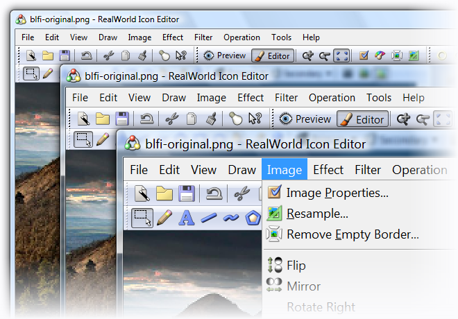 RealWorld Icon Editor in 96, 120, and 144 DPI running on Windows Vista.