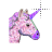 glittery unicorn head alt left select.ani