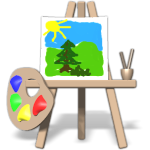 Easel and brushes