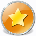 Yellow star on orange circular background.
