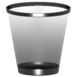 black and chrome recycle bin icon