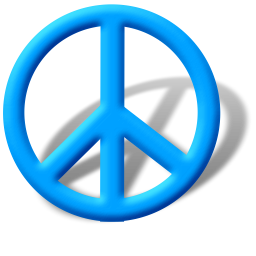 Blue Peace Sign Icon