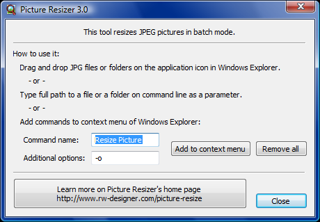 Resize pictures in batches from context menu.