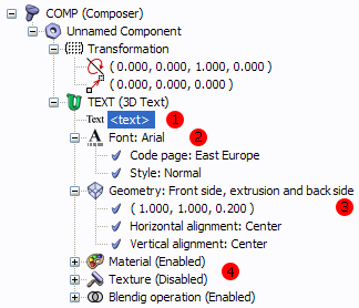 Properties of the 3D text component