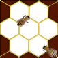 Honeycomb template with two bees