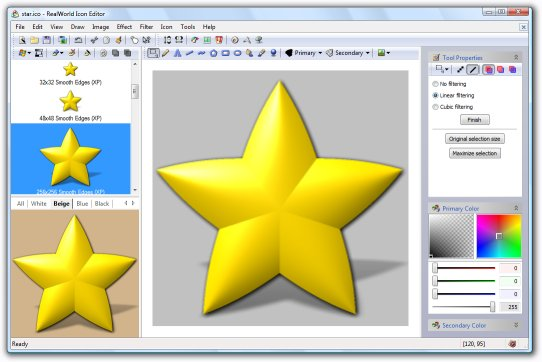 Yellow star icon created in RealWorld Icon Editor.