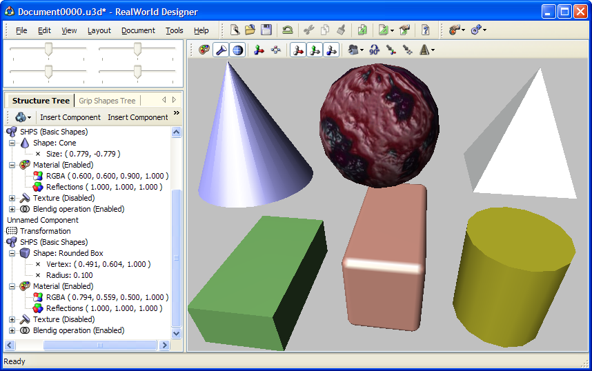 Using built-in 3D shapes in RealWorld 3D Graphics Editor