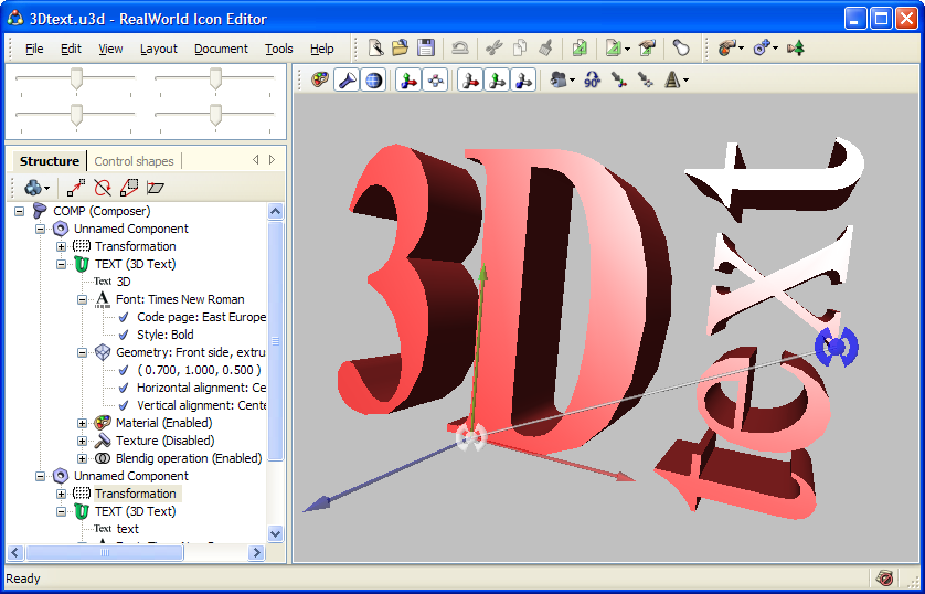 This model was made from two components 3d and text a rotation