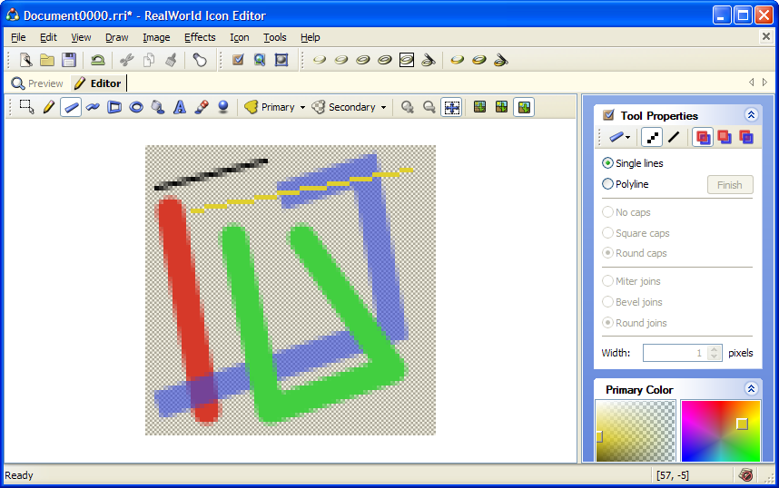 Drawing lines and polylines in raster image editor