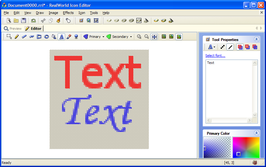 Drawing text in raster image editor