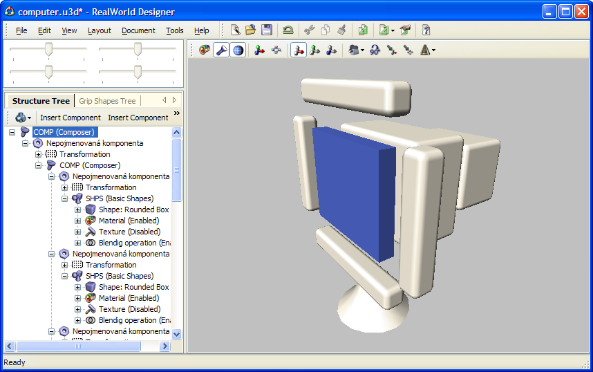 Realworld screenshot parts of a display 3d model in 3d model editor