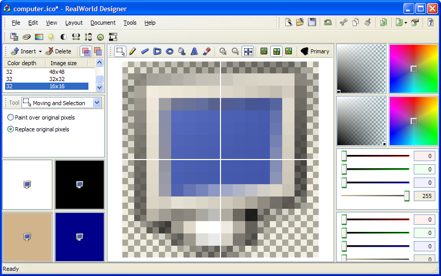 Vieweing the 16x16 pixel image in RealWorld Icon Editor